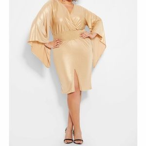 Ashley Stewart gold metallic kimono dress sz 26/28